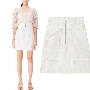 Rebecca Taylor Pinstripe Cotton & Linen Mini Skirt